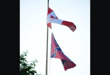 A home in Lakefield is flying a Confederate flag along with the Canadian flag. Peterborough resident Mark L. Craighead objects to the display of the flag as a symbol of hate that has no place in society. (Photo courtesy of Mark L. Craighead)