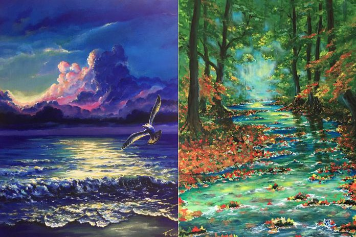 """Details from """"The Seagull"""" (24"""" x 18"""") and """"The Creek"""" (24"""" x 36""""), two paintings by Ukrainian native and new Canadian Aleks Goloborodko. (Photos courtesy of Aleks Goloborodko)"""