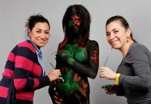 Originally from Mexico, Rosie Salcido and Vange Rodriguez are the owners of Faces by 2, a professional and creative face and body painting and makeup business with locations in Peterborough and Delta, British Columbia. The two women met as newcomer mothers in Peterborough, where they discovered they shared a passion for makeup as well as their culture and language. (Photo courtesy of Faces by 2)