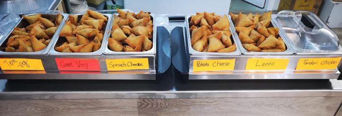 Customers of Goodies on George in downtown Peterborough rave about the high-quality samosas (pictured) and pakoras made fresh in a small kitchen in the store. The store has a 90 per cent positive rating on Google, with 56 glowing reviews about the variety of foods, the spices, the samosas and pakoras, the prices, and owner Shahab Stanikzai. (Photo courtesy of Goodies on George)