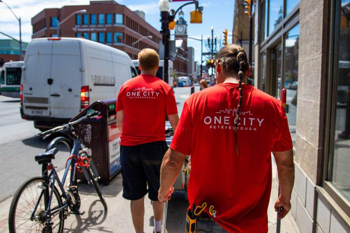 People with challenges finding employment will be helping clean downtown Peterborough beginning in June. Clients of the charity One City Peterborough will join workers with Clint's Property Maintenance to assist with cleaning the downtown during the summer months. (Photo courtesy of Peterborough DBIA)