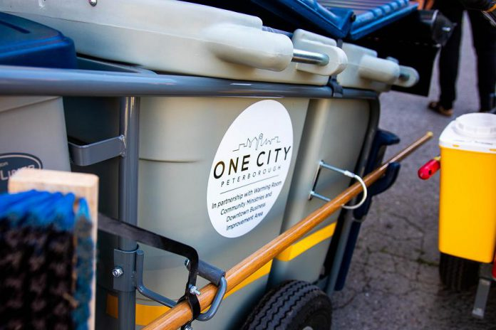 """The One City Peterborough """"clean team"""" will be in downtown Peterborough during the day this summer with cleaning carts to sweep sidewalks, pick up litter, remove old posters from lamp posts, safely disposing of discarded needles, and other small cleaning tasks. (Photo courtesy of Peterborough DBIA)"""