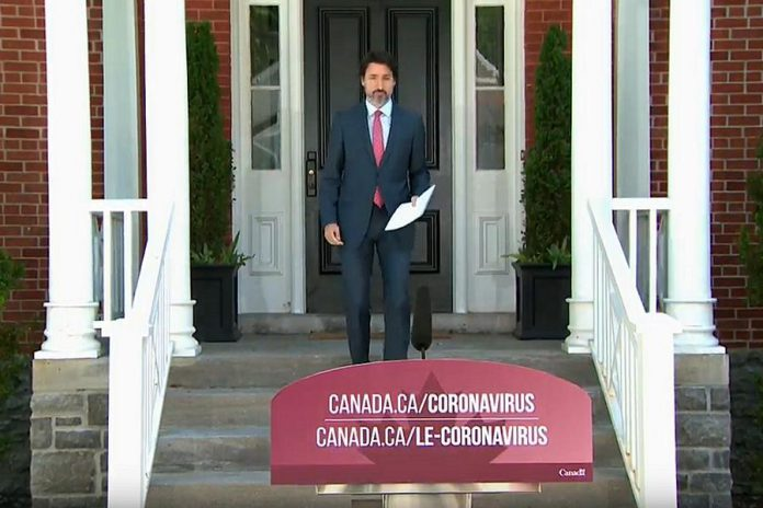 Prime Minister Justin Trudeau outside of his home in Ottawa on June 16, 2020. Trudeau announced that federal government will be extending the Canada Emergency Response Benefit for an additional eight weeks. (Screenshot / CPAC)