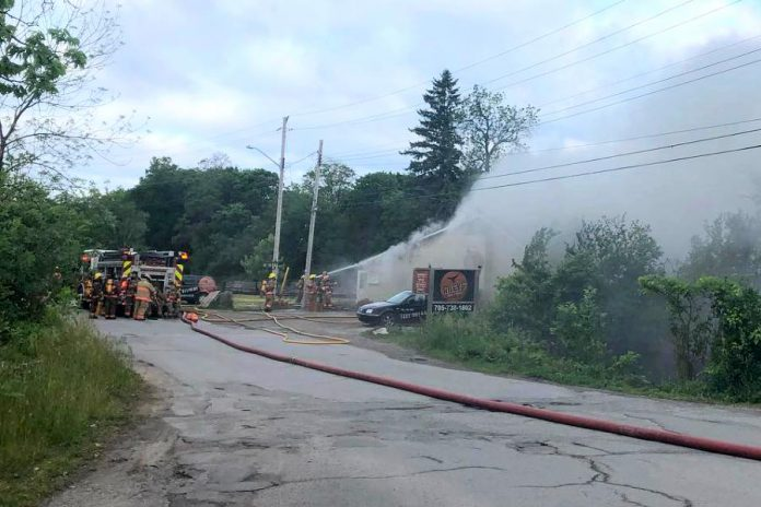 A fire at Rileys Bar and Grill in Bobcaygeon on June 24, 2020. (Photo: Rileys / Facebook)