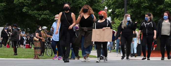 Protesters respected public health directives during a rally in downtown Peterborough on June 2, 2020 calling for an end to police violence against black and indigenous people of colour. (Photo courtesy of Sean Bruce)