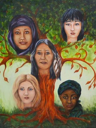 """We Are... We Can... We Will..."" by artist Miriam Terry represents the strength and resilience of women.  (Photo courtesy of Medicine Wheel)"