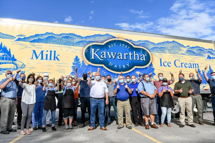 Premier Doug Ford with employees of Kawartha Dairy during a visit to the Bobcaygeon-based dairy on July 30, 2020.  (Photo: Samantha Moss / kawarthaNOW.com)