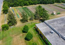 A recent aerial image of Edwin Binney's Community Garden, located at Crayola Canada's office in Lindsay. United Way for the City of Kawartha Lakes (UWCKL) has announced the garden has already produced more than 1,000 pounds of food this summer for local organizations and food programs. (Photo: UWCKL volunteer Rhys Walden)