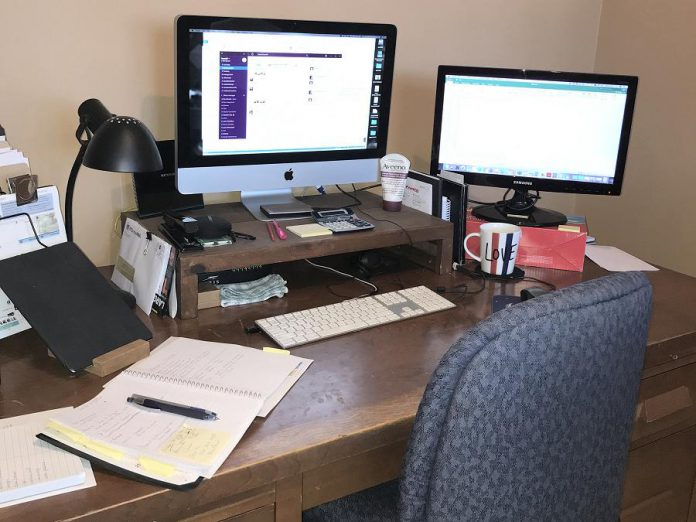 GreenUP finance manager Bev Bonner's home office. As employers look to embrace remote working long-term, they are turning attention to new staff policies and ergonomic work-from-home set-ups for employees. (Photo courtesy of Bev Bonner)