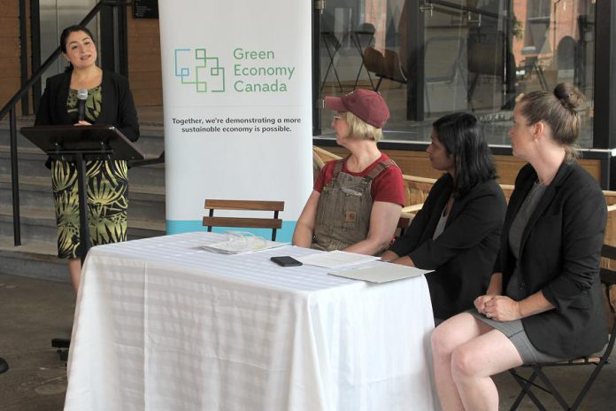 Peterborough-Kawartha MP Maryam Monsef speaks during the funding announcement for Green Economy Peterborough on July 18, 2019 while Peterborough city councillor Kim Zippel, Green Economy Canada executive director Priyanka Lloyd, and Peterborough Utilities Group conservation technical coordinator Cathy Mitchell look on. (Photo: GreenUP)