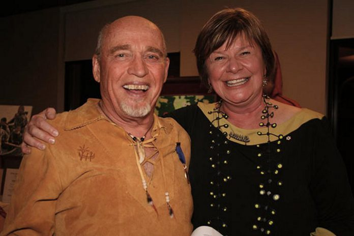 Neil Broadfoot with CBC Radio host Shelagh Rogers at The Canadian Canoe Museum's 2014 Beaver Club Gala. As well as being a life-long canoeist, Neil was artist-in-residence at the museum from 1998 to 2005. (Photo: The Canadian Canoe Museum)
