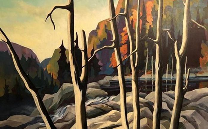 """""""Lake Superior Water Front"""" by Peterborough artist Neil Broadfoot. Neil was an avid canoeist and Canada's canoe routes were a source of inspiration for his art. (Photo via Kawartha Artists' Gallery & Studio)"""