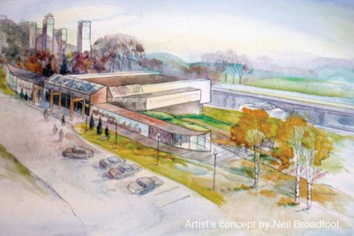 Neil Broadfoot was artist-in-residence at the museum from 1998 to 2005. He painted this watercolour of an early concept of the new Canadian Canoe Museum at the Peterborough Lift Lock. (Photo: The Canadian Canoe Museum)