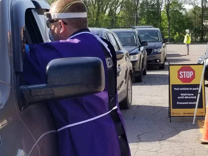 The drive-through COVID-19 testing clinic at Kinsmen Civic Centre in Peterborough for residents without symptoms has been running since May 27, 2020. (Photo: Peterborough Paramedics / Twitter)