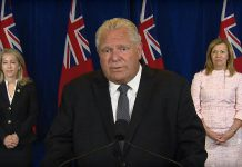 Premier Doug Ford thanks the people of Ontario for their efforts at preventing the spread of COVID-19 during a Queen's Park media conference on July 29, 2020, when he announced that Toronto and Peel Region can proceed to stage three of the province's reopening and the establishment of an independent commission into COVID-19 and long-term care. (CPAC screenshot)