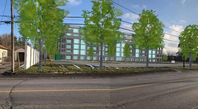 The proposed high-density residential development on currently vacant land at 1176 Armour Road in Peterborough.  With the location originally zoned as commercial, the developer had planned to build a commercial plaza at the property but now intends to develop a seven-storey apartment building. (Graphic via City of Peterborough)