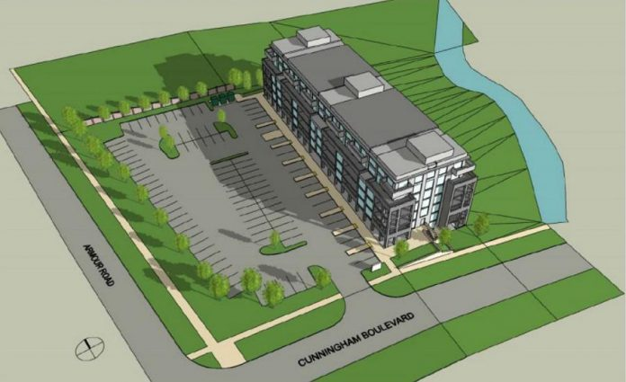 A drawing showing the shadow of the proposed seven-story building  at 1176 Armour Road in Peterborough during the winter solstice. (Graphic via City of Peterborough)