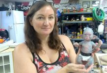 Award-winning makeup FX artist Rhonda Causton displays one of her popular baby orcs in her Omemee studio. When the film industry shut down because of the COVID-19 pandemic, Rhonda began to create and sell her creations online to keep busy. She says she's actually making a better living now than from her film work. (Photo: Sam Tweedle / kawarthaNOW.com)