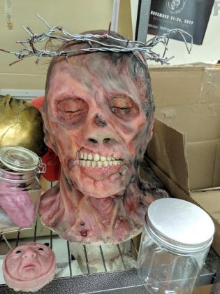 """A monster head prop from the film """"Making Monsters"""", which garnered Omemee makeup FX artist Rhonda Causton three nominations. The horror film may be coming to Netflix in the fall. (Photo: Sam Tweedle / kawarthaNOW.com)"""