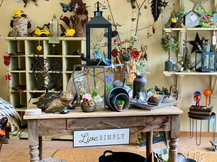 Garden Style Bridgenorth owner Michelle Gay is ensuring her customers have a COVID-safe shopping experience by limiting the number of shoppers allowed in the store at one time, providing hand sanitizer, regularly disinfecting surfaces, and wearing a face mask. She is also continuing to offer porch drops for those who are not yet comfortable going into stores.  (Photo courtesy of Garden Style Bridgenorth)