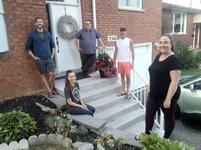 Brian MacDonald (third from right), choirmaster of St. James Church in Peterborough, has been arranging and producing weekly recordings by a small social circle of choir members and guests, including (from left to right) Erik Feldcamp, Natalie Dorsett, Warren Sweeting, and Gillian Dorion. (Photo: Sam Tweedle / kawarthaNOW.com)