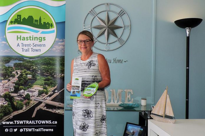 Hastings retailer Julie Whiteman, who recently redesigned and reopened her home décor shop River's Edge on Front. As a certified Trent-Severn Trail Town Friendly business, Whiteman's store includes promotional material about the Trent-Severn Trail Town program, an initiative launched by Regional Tourism Organization 8 (RTO8) to promote tourism and grow the economies of communities along the Trent-Severn Waterway in the Kawarthas Northumberland tourism region. (Photo courtesy of RTO8)