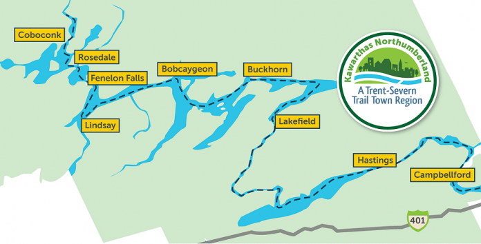 Nine communities in the Kawarthas Northumberland tourism region are participating in the Trent-Severn Trail Town program. Businesses offering attractions, accommodations, retail, and food and/or beverages in any of these communities  can apply to Regional Tourism Organization 8 (RTO8) for the Trent-Severn Trail Town Friendly business certification, which identifies to visitors that their business provides friendly customer service and can provide visitors with information about the Trent-Severn Trail Town program, area attractions, other businesses in the community, and more. (Map courtesy of RTO8)
