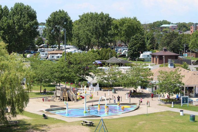 The splash pad in Victoria Park in Cobourg will be open daily effective July 10, 2020, but with new health and safety protocls in place due to COVID-19. Capacity will be limited to 10 people at a time, and wo staff from YMCA Northumberland will be on-site daily to assist splash pad users and ensure rules and procedures are being followed. (Photo: Town of Cobourg)