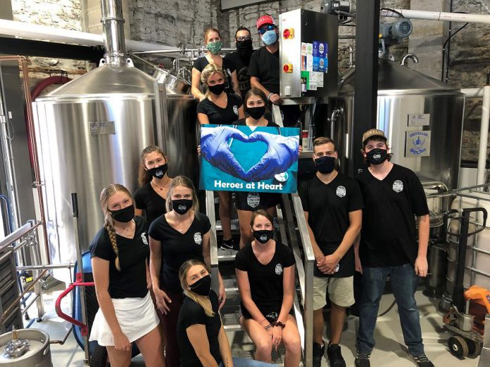 The team at Fenelon Falls Brewing Co. shows its support for the Ross Memorial Hospital (RMH) Foundation's Heroes at Heart fund. (Photo courtesy RMH Foundation)