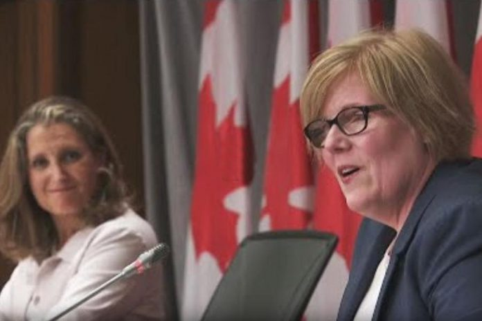 Canada's finance minister Chrystia Freeland and employment minister Carla Qualtrough announcing the extension of the Canada Emergency Response Benefit for another month and new recovery benefits in the employment insurance program on Parliament Hill on August 20, 2020. (CPAC screenshot)
