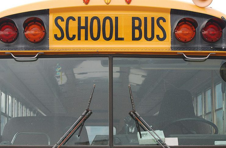 School bus pictured from the front. (Stock photo)