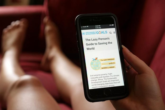 """The United Nations recognized that inaction can be sustainable, so they built an online tool called """"The Lazy Person's Guide to Saving the World,"""" which you can conveniently browse from your couch. (Photo: Benjamin Hargreaves / GreenUP)"""