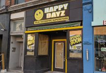 "A media release from parent company Friendly Stranger Holdings Corp states that Happy Dayz at 291 George Street North in downtown Peterborough will open on August 13, 2020, although the store's signage as of August 10 still reads ""opening soon"". (Photo: Bruce Head / kawarthaNOW.com)"
