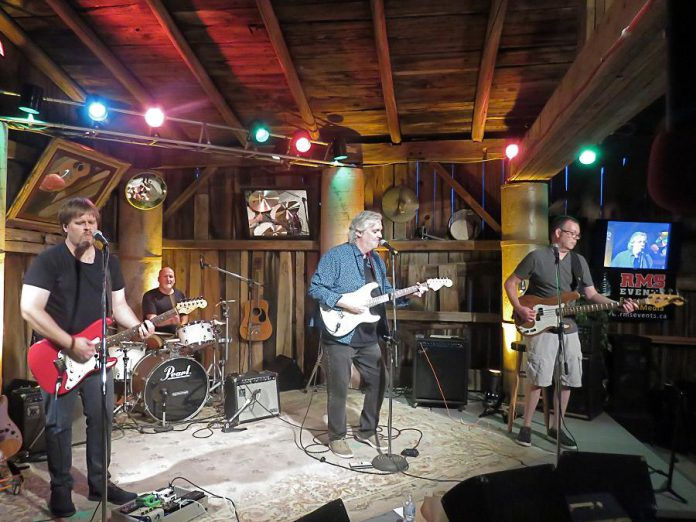 Local band House Brand performing classic rock, country, and blues at Andy and Linda Tough's Norwood-area barn-turned-recording studio for the new Live! At The Barn music performance video series. House Brand's performance will debut on Andy's YouTube channel on September 18, 2020. Viewers will have an opportunity to donate to the band. House Brand intends to pass on any donations received to the Peterborough Musicians' Benevolent Association, which supports local musicians in time of need.  (Photo courtesy of Andy Tough)