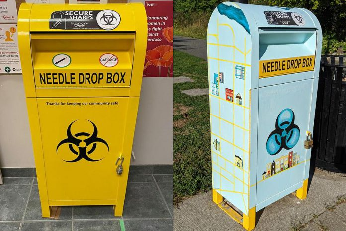 Before and after: the needle drop boxes are usually painted bright yellow. (Photos: Artspace and Bruce Head / kawarthaNOW.com)