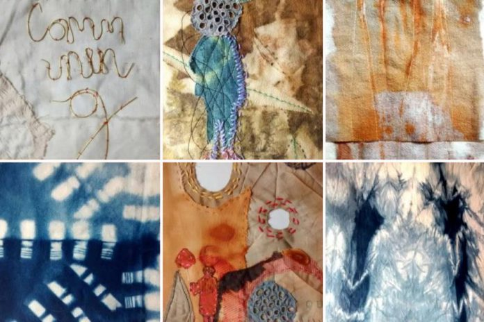 Textile artist Melanie McCall's cloth collage. (Photos courtesy of Atelier Ludmila)