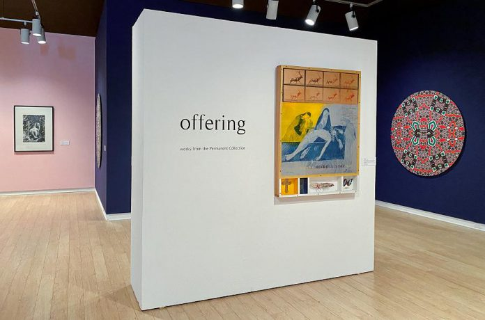 'Offering', on display now at the Art Gallery of Peterborough, is a selection of work from the gallery's permanent collection. Pictured are pieces by Nobuo Kubota, Carl Beam, and Sanaz Minazi hanging in the main gallery. (Photo courtesy of the Art Gallery of Peterborough)
