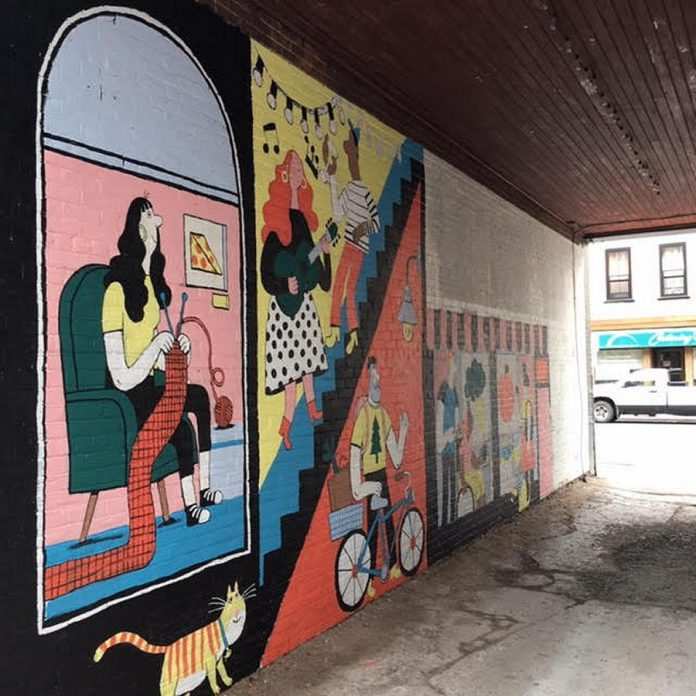 A detail of illustrator Kathryn Durst's mural in progress, to be officially unveiled during the upcoming first Friday on September 4th. (Photo courtesy of First Friday Peterborough)
