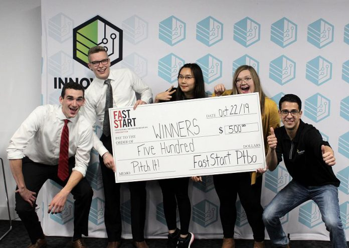 The winners of FastStart Peterborough's Pitch It! competition on October 22, 2019. (Photo courtesy of Innovation Cluster)