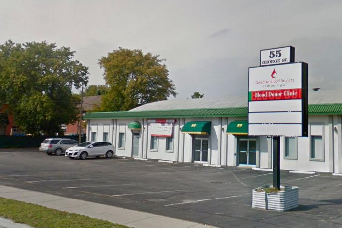 Canadian Blood Services in Peterborough is located at 55 George Street at Perry Street across from Del Crary Park. Due to the pandemic, you must book an appointment in advance at the website, by phone, or by using the Give Blood app. (Photo: Google Maps)
