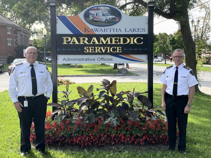 Randy Mellow (left), the chief of Peterborough County-City Paramedics, will also be leading the Kawartha Lakes Paramedic Service when its current chief, Andrew Rafton (right), retires in November 2020. The municipal councils of the City of Kawartha Lakes and Peterborough County entered into a shared services agreement following an ongoing joint review of the two paramedic services. (Photo courtesy of City of Kawartha Lakes)