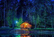 A cottage on a lake at night. (Stock photo)