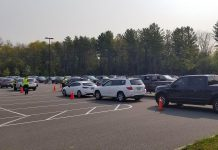Cars lined up at the drive-through COVID-19 testing centre at Eastgate Memorial Park in Peterborough on September 22, 2020, when 460 people were tested. (Photo: Peterborough Regional Health Centre / Twitter)