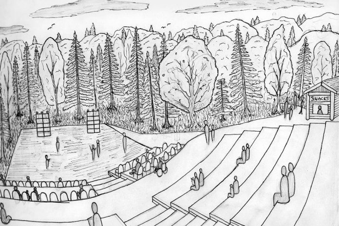 An artist's rendering of the completed outdoor amphitheatre in Fenelon Falls. Although it was planned before the COVID-19 pandemic, the open-air amphitheatre will allow for safe, physically distanced live performances to take place. (Image courtesy of Kawartha Works Community Co-operative)