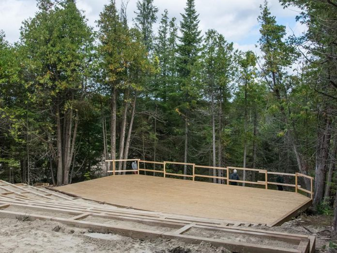 "The stage of the outdoor amphitheatre, which will include 420 raised seats, under construction at Fenelon Falls fairgrounds. The Grove Theatre is planning to stage a production of ""A Midsummer Night's Dream, The Musical"" at the amphitheatre in summer 2021. (Photo courtesy of Kawartha Works Community Co-operative)"