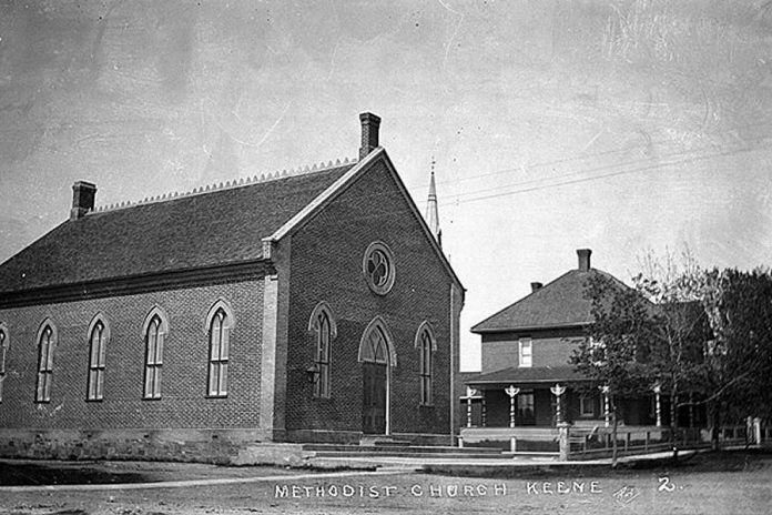 The Keene Centre for the Arts is located in a historic building that was previously the Keene Methodist Church (pictured circa 1900) and the Keene Masonic Hall since 1927. (Photo: Roy Studio)
