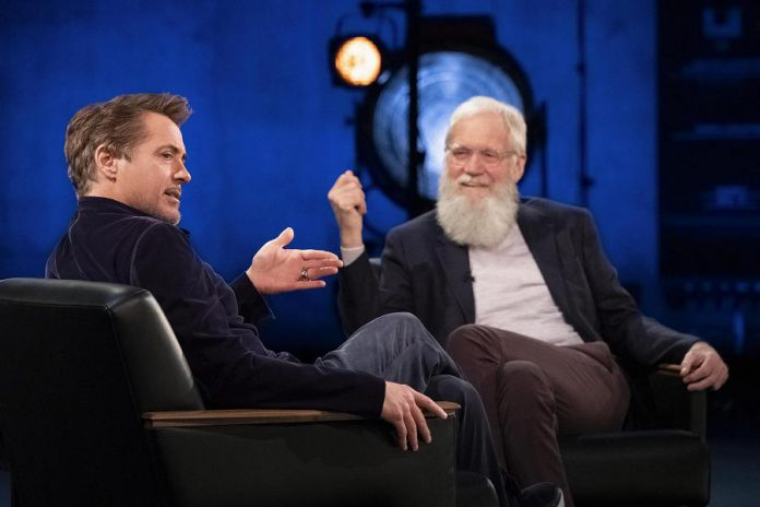 """""""My Next Guest Needs No Introduction With David Letterman"""" returns to Netflix on Wednesday, October 21st, featuring interviews with Robert Downey Jr. (pictured), Dave Chappelle, Kim Kardashian, and more. (Photo: Netflix)"""