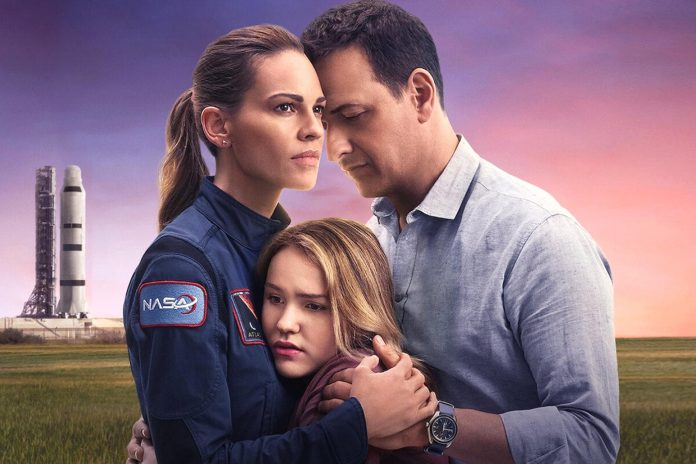 """Along with Hilary Swank as mission commander Emma Green, """"Away"""" also stars Josh Charles (The Good Wife) as her husband and NASA engineer Matt Logan, and Talitha Bateman as their teenage daughter Alexis Logan.  (Photo: Netflix)"""