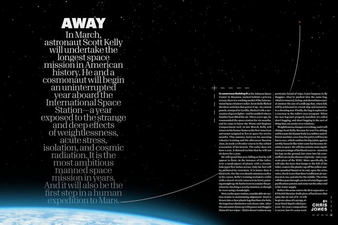 """An excerpt from the 2014 Esquire article by Port Hope writer Chris Jones that inspired the Netflix series """"Away"""", and led to Jones penning one of the series' 10 episodes. (Photo: Esquire)"""