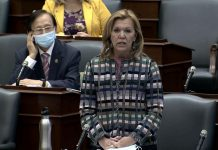 Ontario Minister of Health Christine Elliott during Question Period at Queen's Park on September 21, 2020, where she confirmed the government would be releasing its fall preparedness plan over several days this week. (Ontario Legislature screenshot)